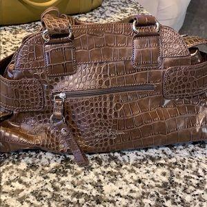 Brown Alligator Pattern Purse